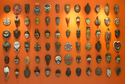 with a wall of masks