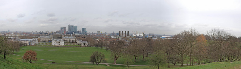 View from the Royal observatory towartd Docklands and Canary Wharf
