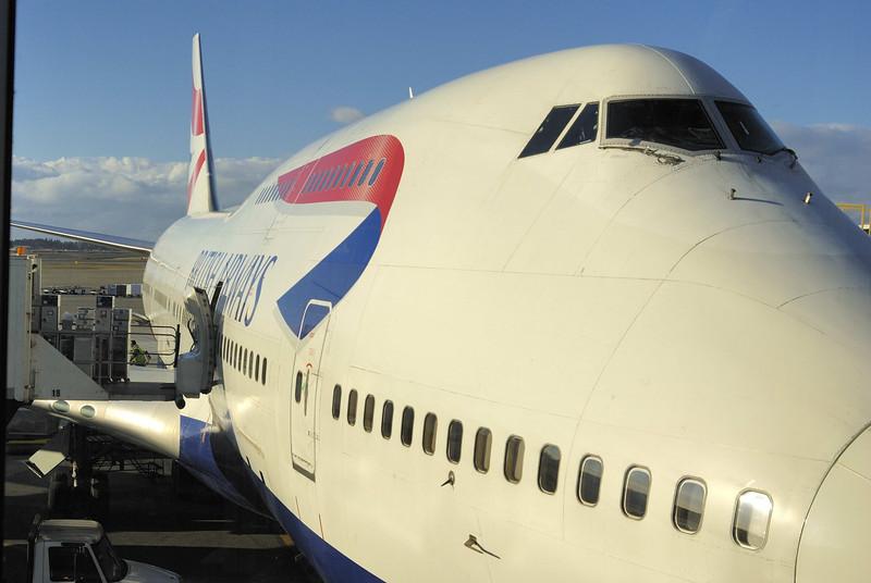 British Airways 747-400 preparing to depart Seattle for London