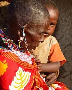 Maasai Grandmother with Child