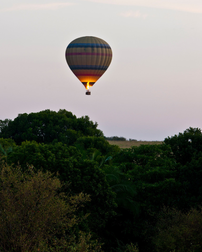 Hot air balloon in flight just after take off over the Masi Mara