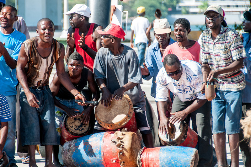 Street musicians playing drums in Lobito, Angola
