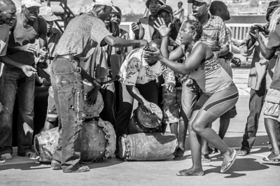 Street musicians and dancers in Lobito, Angola