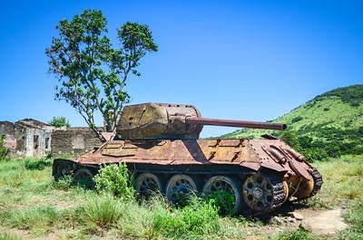 Tank wrecks in the Angolan countryside