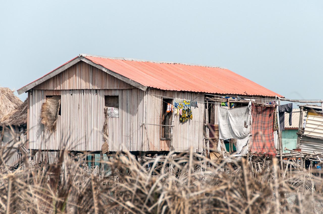 House in fishing village in Cotonou, Benin