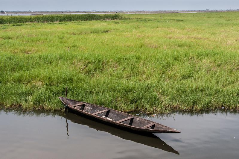 Boat in fishing village in Cotonou, Benin