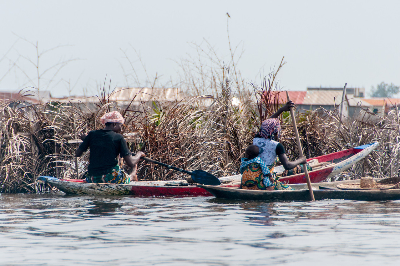 Women on boat in Cotonou, Benin