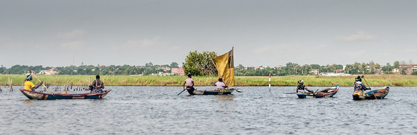 Boats in lake in Cotonou, Benin