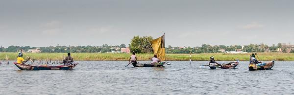 Boats in lake in Cotonou, Benin