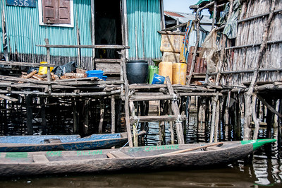 House in fishing village in Cotonou, Benin