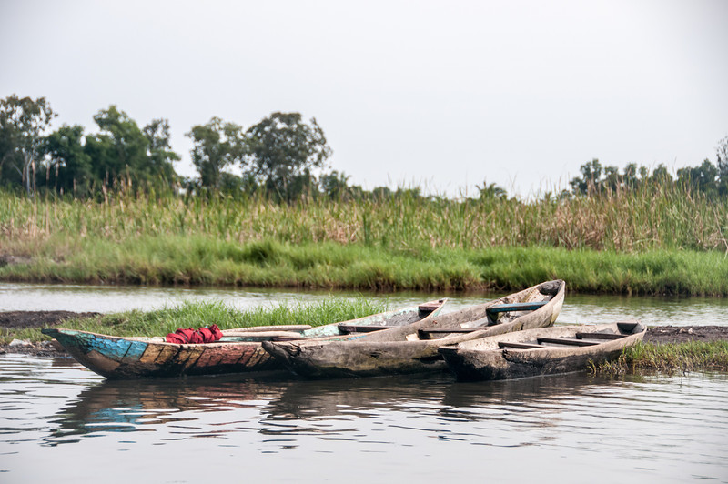Boats on lake in Cotonou, Benin