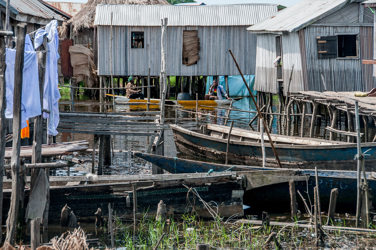 Boats in fishing village in Cotonou, Benin