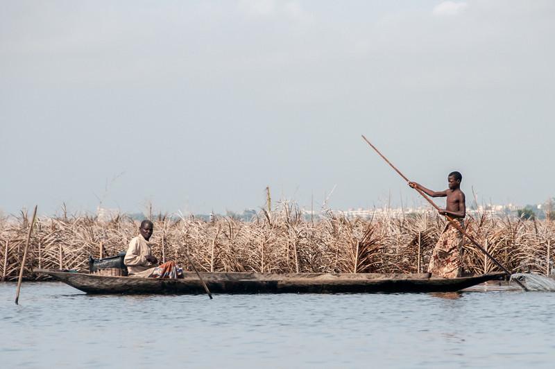 Fishing in a boat in Cotonou, Benin