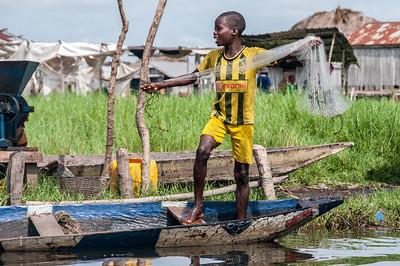 Kid fishing in Cotonou, Benin