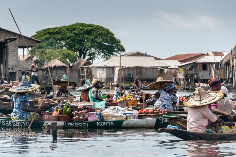 Market in fishing village of Cotonou, Benin