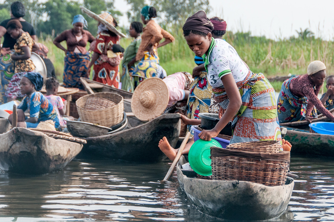 Women in boats in Cotonou, Benin