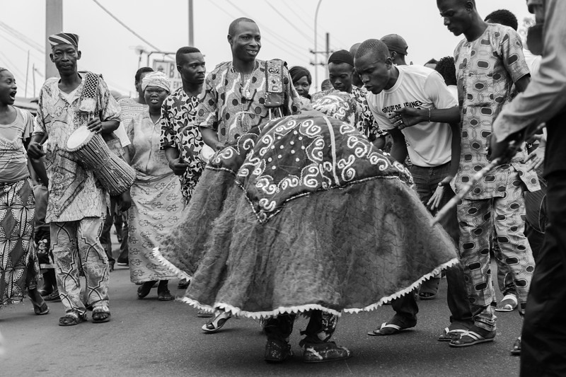 Egungun in a Funeral Procession, Cotonou