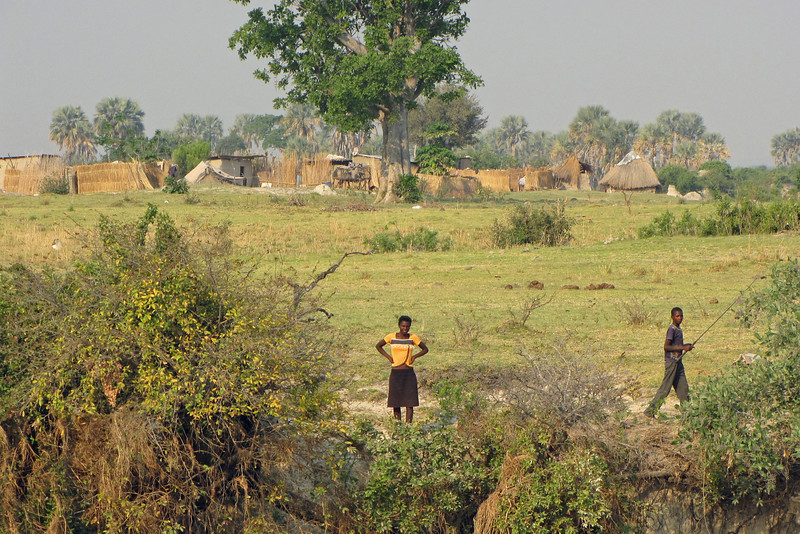 Namibian village on the north bank of the river; Chobe National Park is on the southern bank.