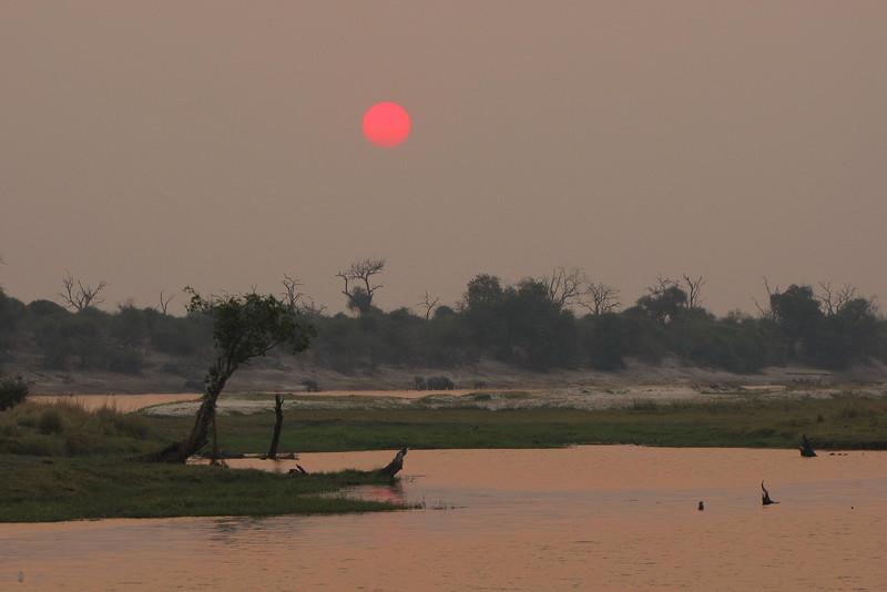 Smoky sunset on the Chobe