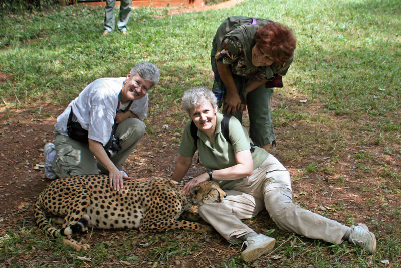 Linda, Ann W, and Sharon with Friendly Cheetah