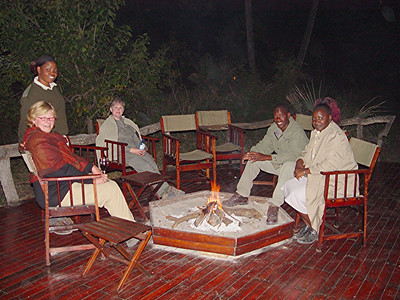 Guests and camp staff congregated around the fire for warmth and good conversation.