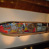 This decoratively painted old mokoro (dugout canoe) was on display in the upper lobby of the Sandton Hilton.