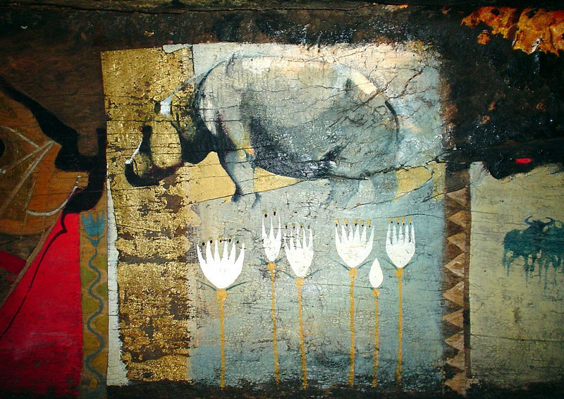 A closer look at the art painted on the inside the mokoro revealed our first glimpse of African wildlife - a hippo.