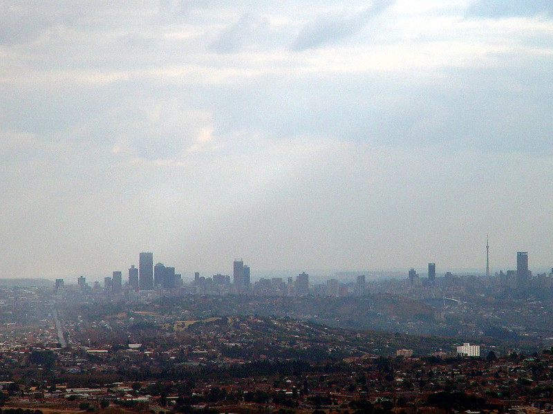 The downtown Johannesburg skyline as our flight descended towards the airport.