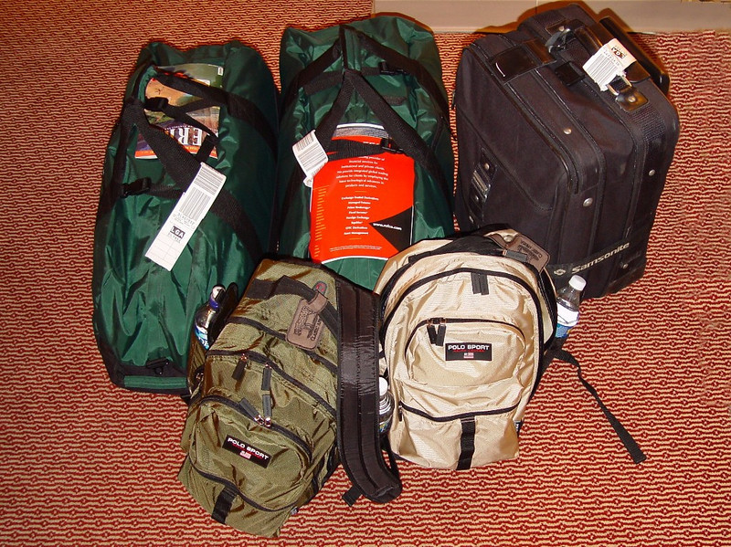 We were allowed 24 kilos (52 lbs) between the two of us; 2 duffles and 2 backpacks.  We left the black suitcase, which had our pre-safari NYC and travel stuff, at the hotel in Johannesburg.