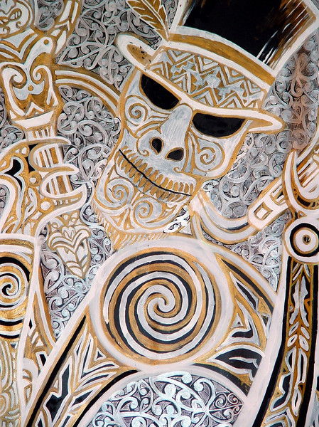 """""""Signs"""" - a small portion of a Maori mural that was on exhibit in the lobby of the UN building."""