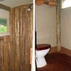 The shower and flush toilet were located in separate cubicles in the rear of the tent.