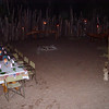 The boma, surrounded by a thatch wall and lit by torches, was also used to serve dinner one night.