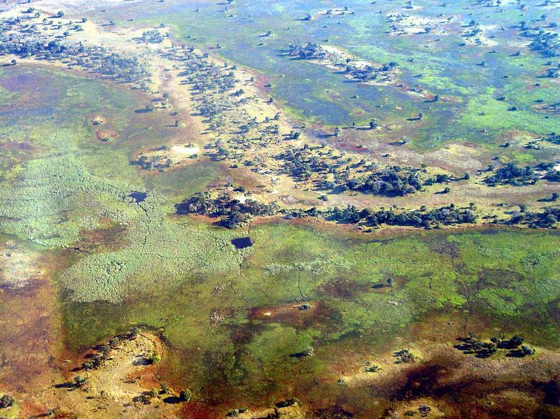 Flying over the Okavango Delta.