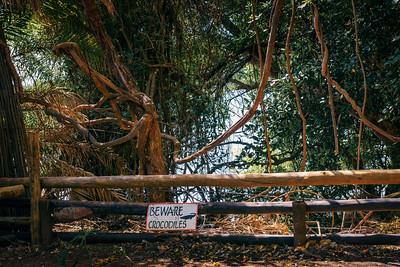 Crocodiles warning sign near Chobe National Park in Botswana