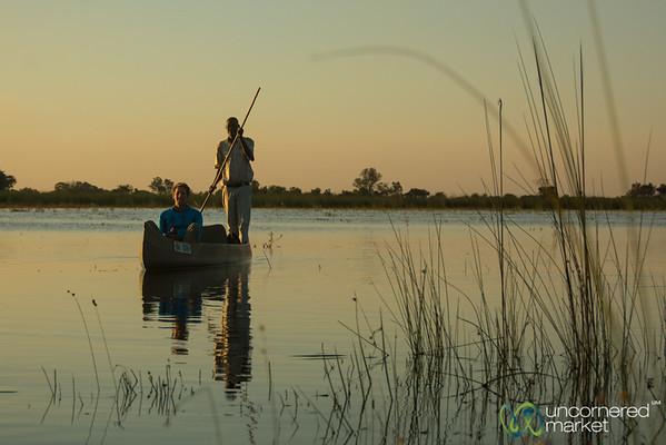 Dan in a Mokoro (Dugout Canoe) - Camp Okavango, Botswana