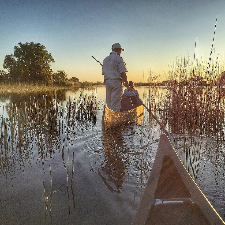"""""""Delta"""" John Carter, a local legend for his knowledge and wisdom drawn from growing up in a village along the Okavango Delta. He served as one of our guides, including on this late afternoon paddle along the slowly rising network of waterways just outside Camp Okavango. A remarkable experience all its own, but astonishing when you consider the ecology and cycle that sees the annual filling of these channels, then absorption of the water into the sands of the Kalahari Desert. In the current season, in only a few days, once dry patches turn to lagoon as the flood waters arrive. It gave us a sense of what the same land looks like flush with water…and without. via Instagram http://ift.tt/1Qdq1sS"""
