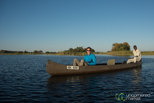 Dan and Kops in a Mokoro (Canoe) - Camp Okavango, Botswana