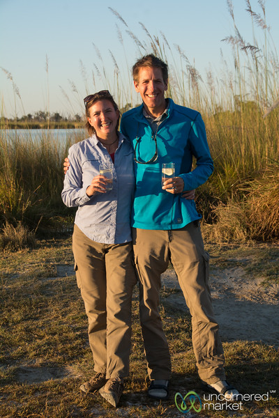 Dan and Audrey during Sundowner - Camp Xakanaxa, Botswana