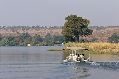 Chobe River, Chobe National Park, Botswana.  Tourist boat.
