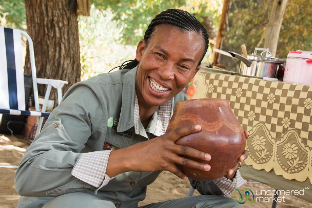 Lynn Shows us the Local Way to Drink Sorghum Beer - Kachikau, Botswana