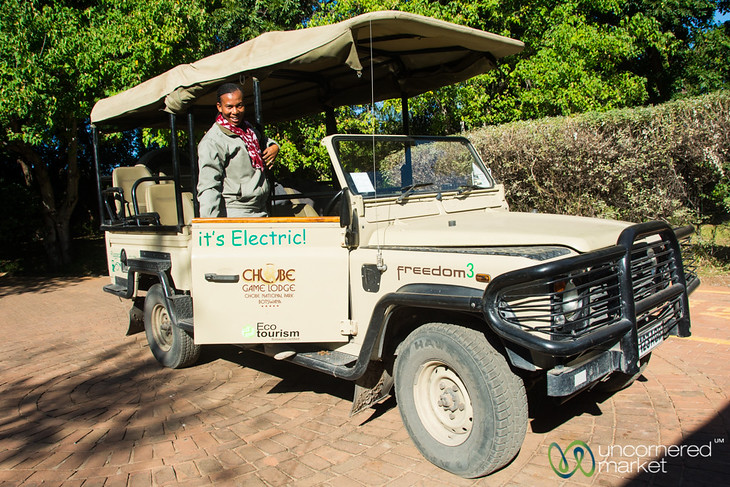 Lynn with an Electric Land Cruiser - Chobe Game Lodge, Botswana