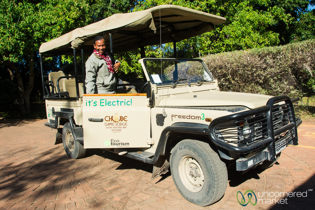 Lynn with an Electric Land Cruiser - Chobe Game Lodge, Botswana