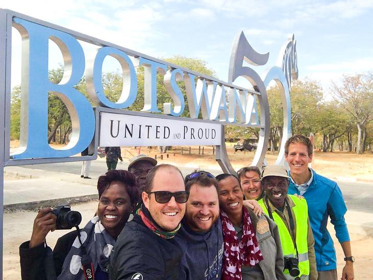 Botswana's 50th Anniversary Sign - Chobe National Park, Botswana