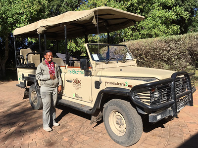 Lynn in Front of Electric Game Vehicle - Chobe Game Lodge, Botswana