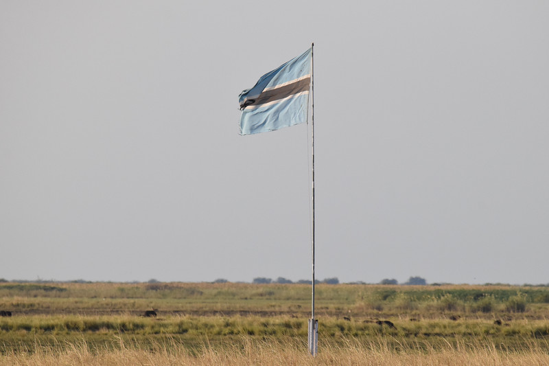 Botswana flag on Sedudu Island