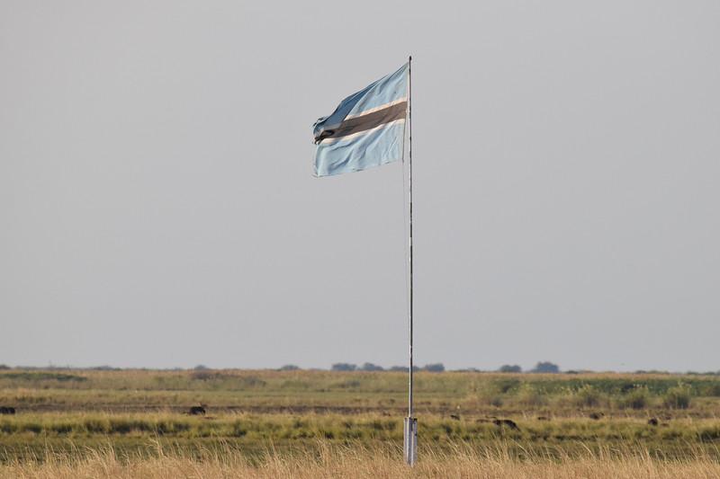 Botswana flag on Sedudu Island