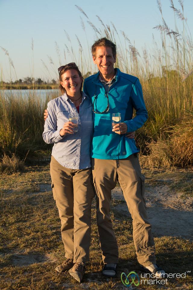 Dan and Audrey during Sundowner - Camp Xakanaxa, Botswana