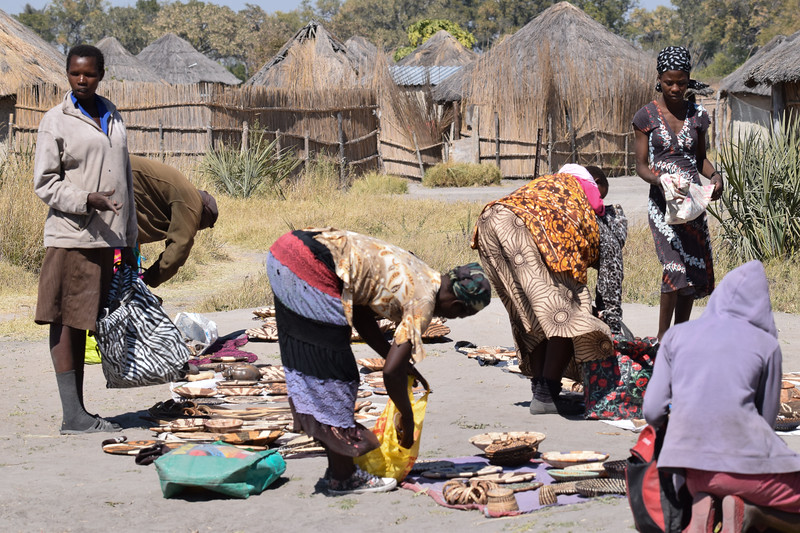 Women displaying their hand-made items for sale
