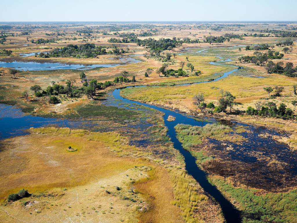 Okavango Delta as seen from a helicopter