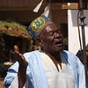 Herald, Sultan's Palace, Foumban.  This man was singing all sorts of flattering things to the Sultan.